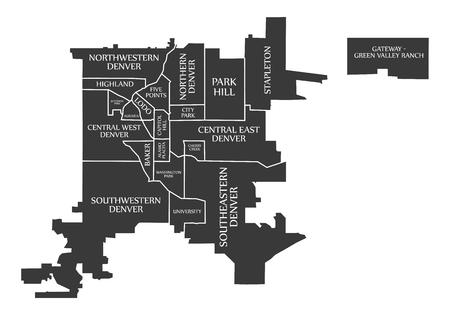 Denver Colorado city map USA labelled black illustration