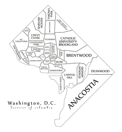 Modern City Map - Washington DC city of the USA with neighborhoods and titles outline map 矢量图像