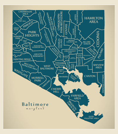 Modern City Map - Baltimore Maryland city of the USA with neighborhoods and titles Illusztráció