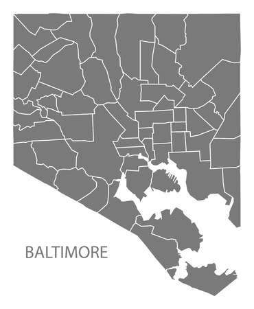 Baltimore Maryland city map with neighborhoods grey illustration silhouette shape