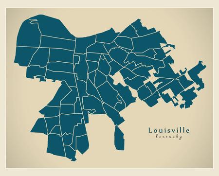 Modern City Map - Louisville Kentucky city of the USA with neighborhoods