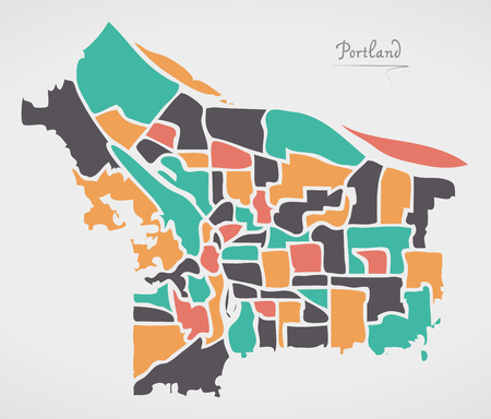 Portland Oregon Map with neighborhoods and modern round shapes