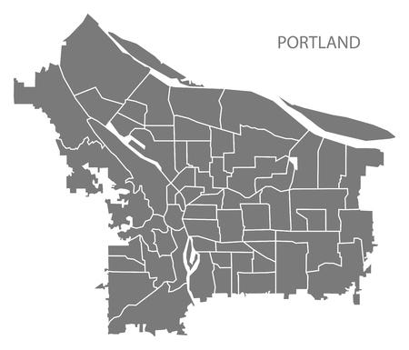 Portland Oregon city map with neighborhoods grey illustration silhouette shape
