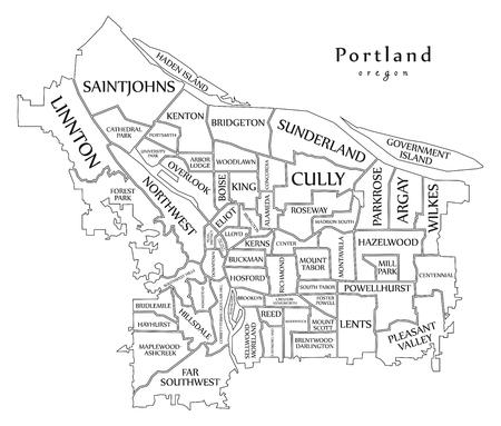 Modern City Map - Portland Oregon City Of The USA With Neighborhoods ...