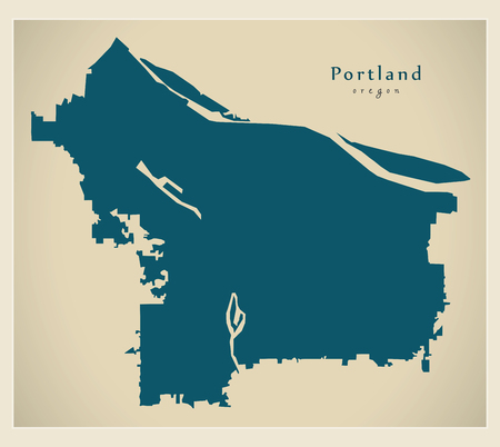 Modern City Map - Portland Oregon city of the USA