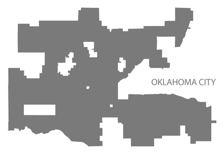 Oklahoma city map grey illustration silhouette Illusztráció