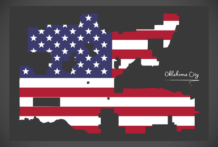 Oklahoma city map with American national flag illustration