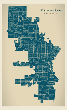 Modern City Map - Milwaukee Wisconsin city of the USA with neighborhoods and titles Illustration