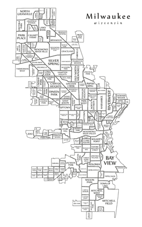 Modern City Map - Milwaukee Wisconsin city of the USA with neighborhoods and titles outline map 版權商用圖片 - 101745824