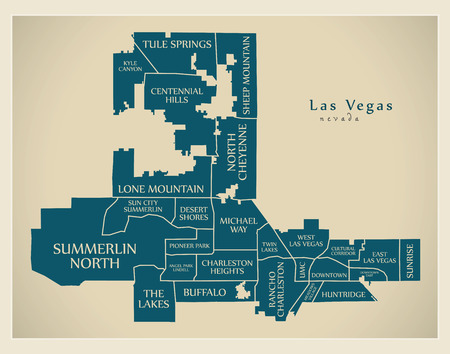 Modern City Map - Las Vegas Nevada city of the USA with neighborhoods and titles Stock fotó