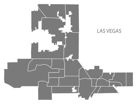 Las Vegas Nevada city map with neighborhoods grey illustration silhouette shape Stock fotó