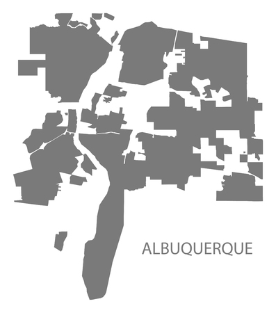 Albuquerque New Mexico city map grey illustration silhouette