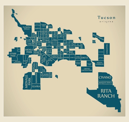 Modern City Map - Tucson Arizona city of the USA with neighborhoods and titles 矢量图像