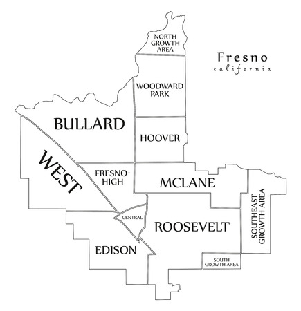 Modern City Map - Fresno California city of the USA with neighborhoods and titles outline map