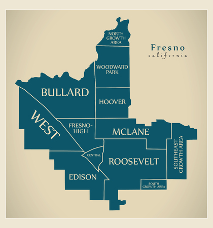 Modern City Map - Fresno California city of the USA with neighborhoods and titles