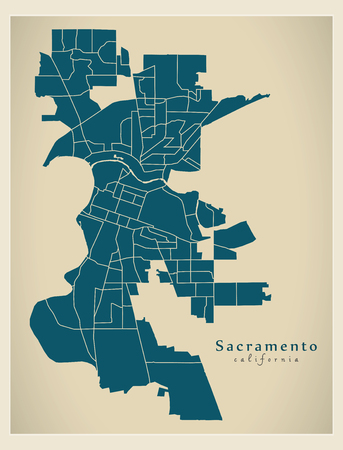 Modern City Map - Sacramento California city of the USA with neighborhoods