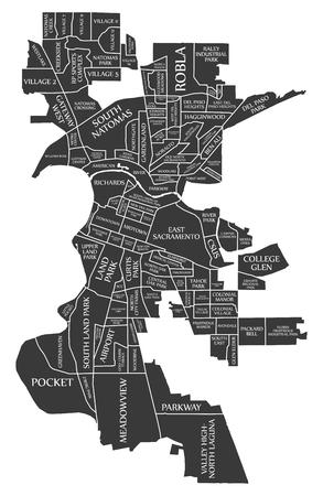 Sacramento California city map USA labelled black illustration Illustration