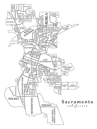 Modern City Map - Sacramento California city of the USA with neighborhoods and titles outline map