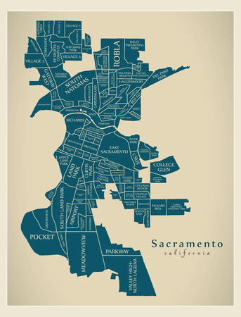 Modern City Map - Sacramento California city of the USA with neighborhoods and titles Illusztráció