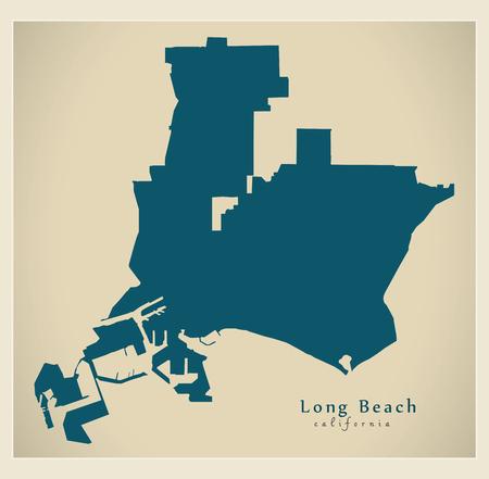 Modern City Map - Long Beach California city of the USA