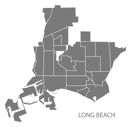 Long Beach California city map with neighborhoods grey illustration silhouette shape Illusztráció