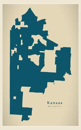 Modern City Map - Kansas Missouri city of the USA
