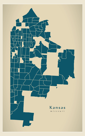 Modern City Map - Kansas Missouri city of the USA with neighborhoods