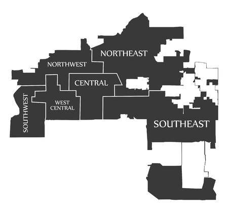 Mesa Arizona city map USA labelled black illustration 向量圖像