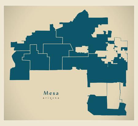 Modern City Map - Mesa Arizona city of the USA with neighborhoods