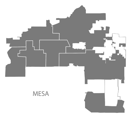 Mesa Arizona city map with neighborhoods grey illustration silhouette shape