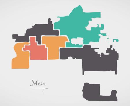 Mesa Arizona Map with neighborhoods and modern round shapes