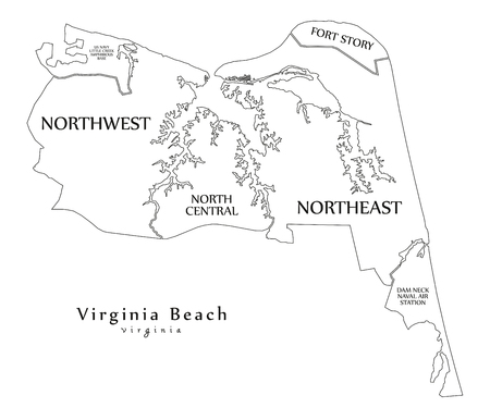 Modern City Map - Virginia Beach VA city of the USA with neighborhoods and titles outline map 矢量图像
