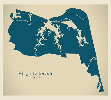 Modern City Map - Virginia Beach VA city of the USA with neighborhoods Illusztráció