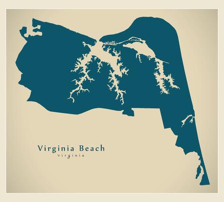 Modern City Map - Virginia Beach VA city of the USA