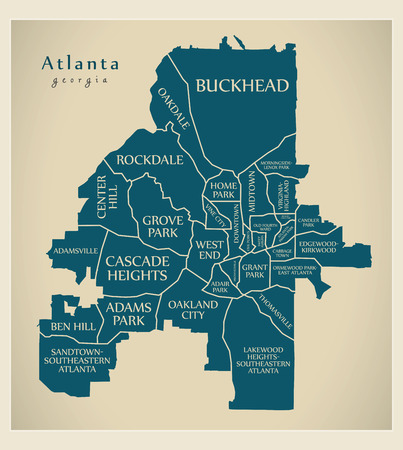 Modern City Map - Atlanta Georgia city of the USA with neighborhoods and titles Imagens - 121829088