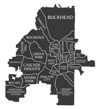 Atlanta Georgia city map USA labelled black illustration Imagens - 121829092