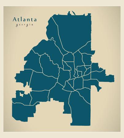 Modern City Map - Atlanta Georgia city of the USA with neighborhoods
