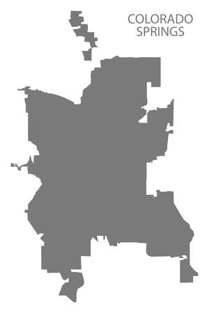 Colorado Springs CO city map grey illustration silhouette shape