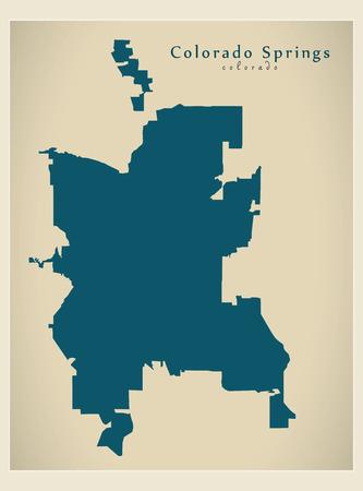 Modern City Map - Colorado Springs CO city of the USA Stock Vector - 121827590