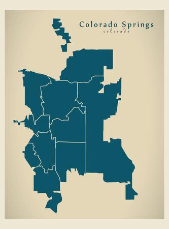 Modern City Map - Colorado Springs CO city of the USA with neighborhoods Stock Vector - 121827591