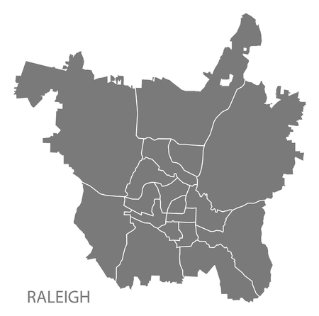 Raleigh North Carolina city map with neighborhoods grey illustration silhouette shape Illusztráció