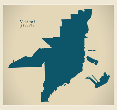 Modern City Map - Miami Florida city of the USA