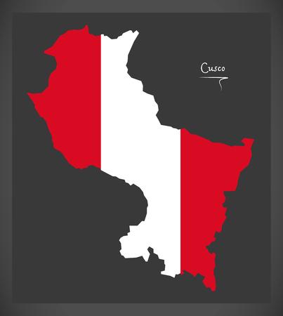 Cusco map with Peruvian national flag illustration Çizim