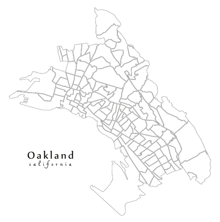Modern City Map - Oakland California city of the USA with 131 neighborhoods outline map