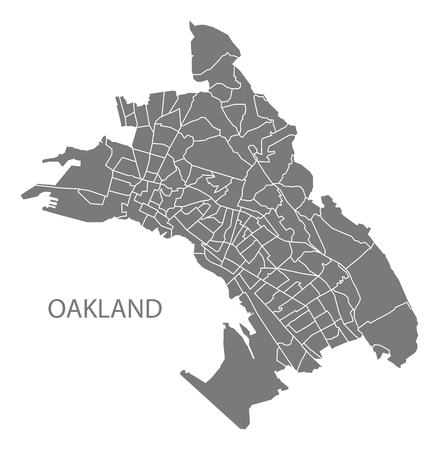 Oakland California city map with 131 neighborhoods grey illustration silhouette shape Vector Illustration