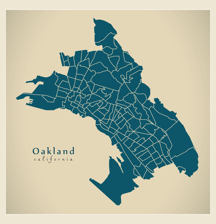 Modern City Map - Oakland California city of the USA with 131 neighborhoods