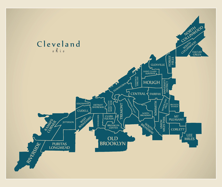 Modern City Map - Cleveland Ohio city of the USA with neighborhoods and titles Ilustração