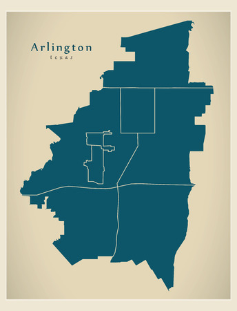 Modern City Map - Arlington Texas city of the USA with neighborhoods