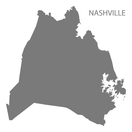 Nashville Tennessee city map grey illustration silhouette shape Illusztráció