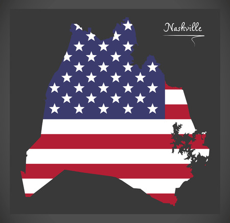 Nashville Tennessee map with American national flag illustration